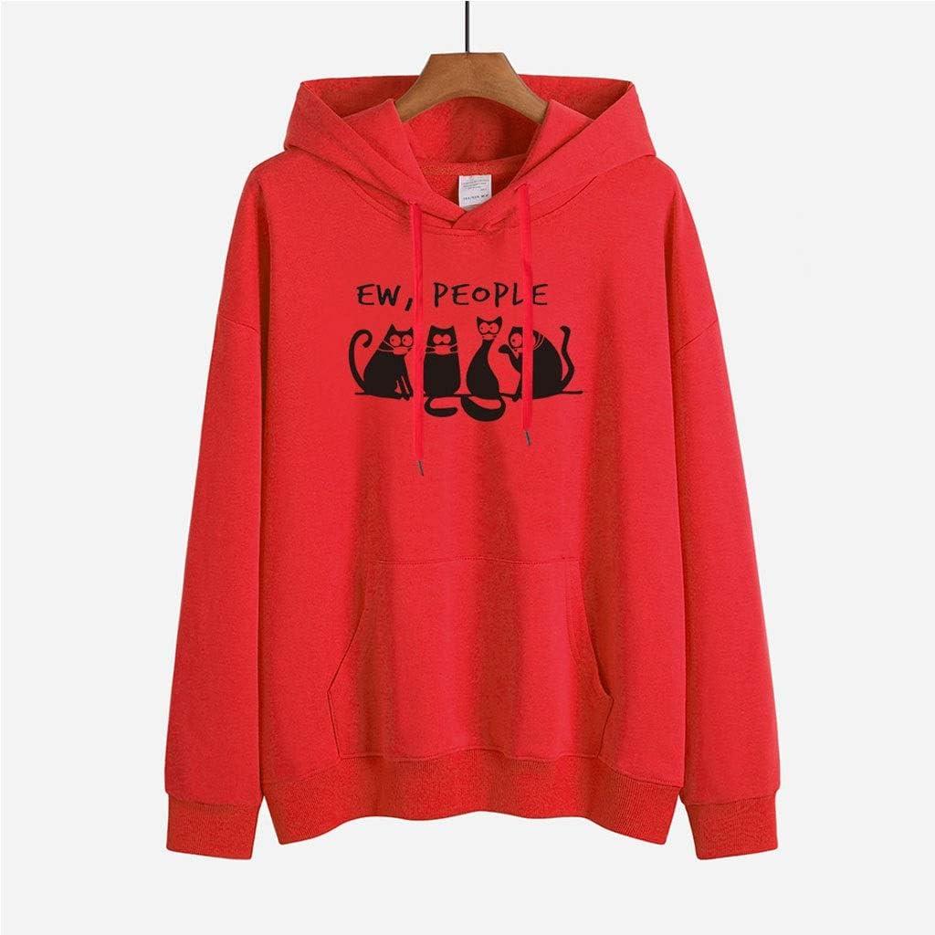 LXHcool Gato Negro Que Lleva una máscara de la mascarilla EW Personas Cov_ID 19 Ligera Camiseta de Manga Larga Camisa Informal suéter (Color : Red, Size : M)