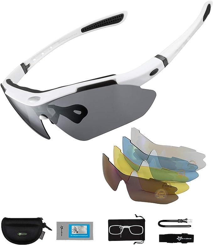 ROCKBROS Gafas de Sol Polarizadas con 5 Lentes Intercambiables para Ciclismo Bicicleta Running Deportes Protección UV 400 Anti Viento para Hombre y ...