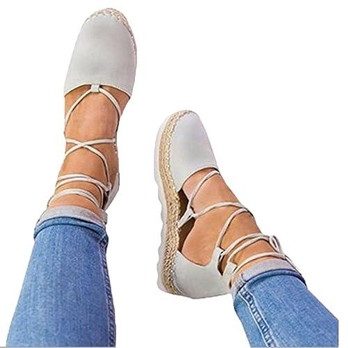 Logobeing Sandalias Mujer Verano Alpargatas Planas con Cordones para Mujer Zapatillas Moda Cerrado Zapatos (34