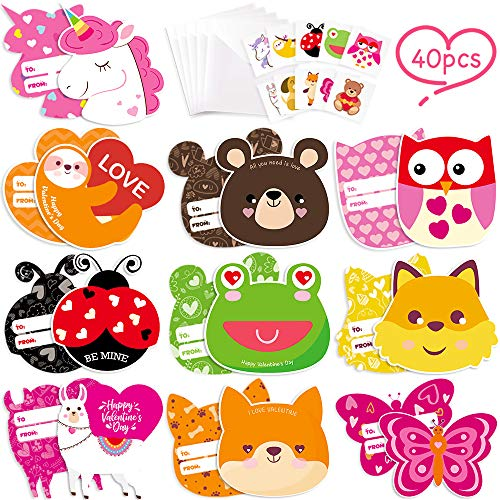 Tattoo Valentines Cards (40pcs Valentine Cards for Kids, Animal Valentine's Day Greeting Cards with Temporary Tattoos and Envelopes for Children School Classroom Exchange Gift Party Favors)
