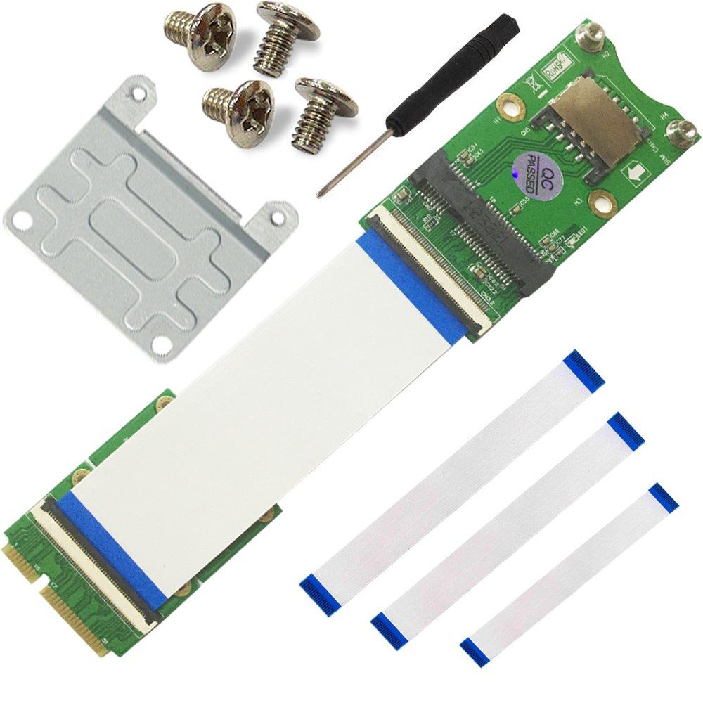 Mini PCIe x mSATA Flexible Extender Cable with SIM Card Slot