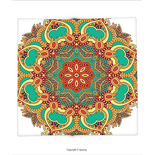 Custom printed Throw Blanket with Mandala Decor Collection Ornamental Lace Arabesque Style Circle Form Pattern with Floral Stencil Motifs Boho Decor Mul Super soft and Cozy Fleece (Doctor Who Pumpkin Stencils)