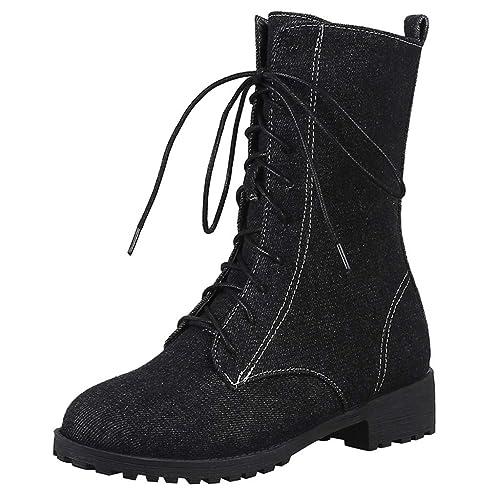 Tefamore Botas de Mujer, Botines para Adulto, Mujer Zapatos Otoño/Invierno 2018, Vintage Mezclilla Casual Planas Zapatos con Cordones: Amazon.es: Zapatos y ...