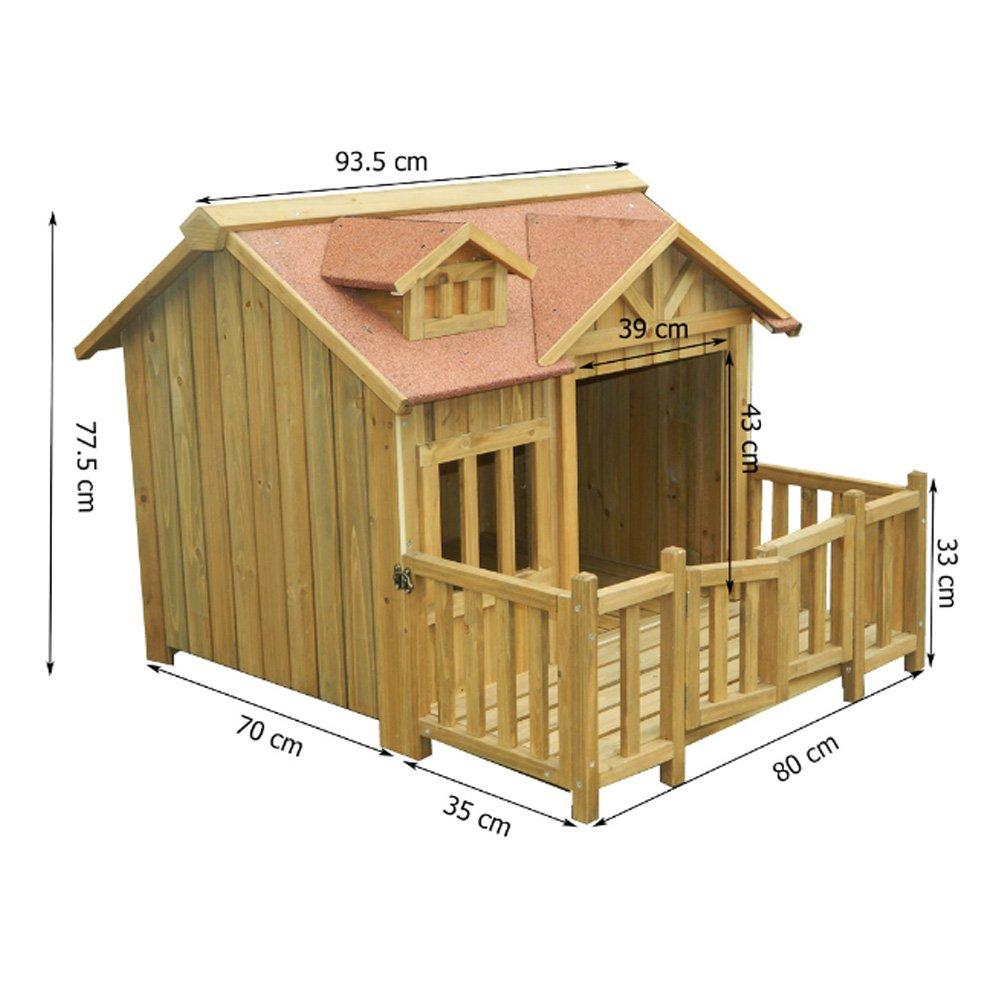 hikenn Caseta Luxus Perros Casa Madera XL Balcón Terraza: Amazon.es: Productos para mascotas