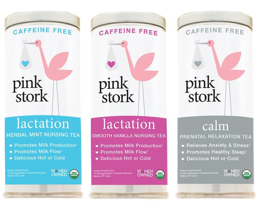 Pink Stork Nursing Bundle: Lactation Herbal Mint, Lactation Smooth Vanilla, Calm Blends; -Support Breast Milk Production & Flow, Gift for New Moms, USDA Organic,