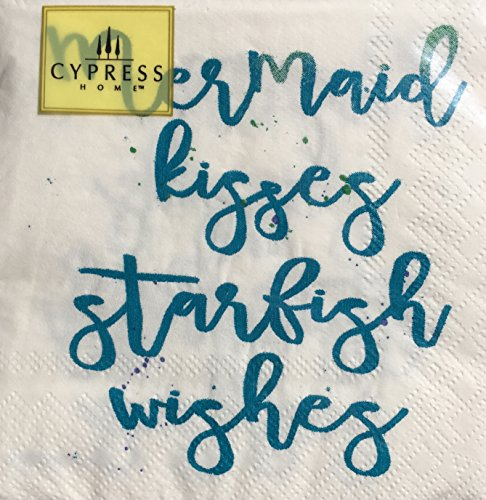 Cypress Home Cocktail Beverage Paper Napkins, Mermaid Kisses Starfish Wishes, 40 ct