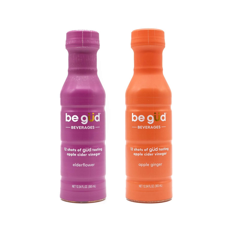 Be Gud Beverages Apple Cider Vinegar Shots – 24 Daily Shots of Apple Cider Vinegar with Natural Elderflower Flavor and Natural Apple Ginger flavor, Two bottles bundle, one of each