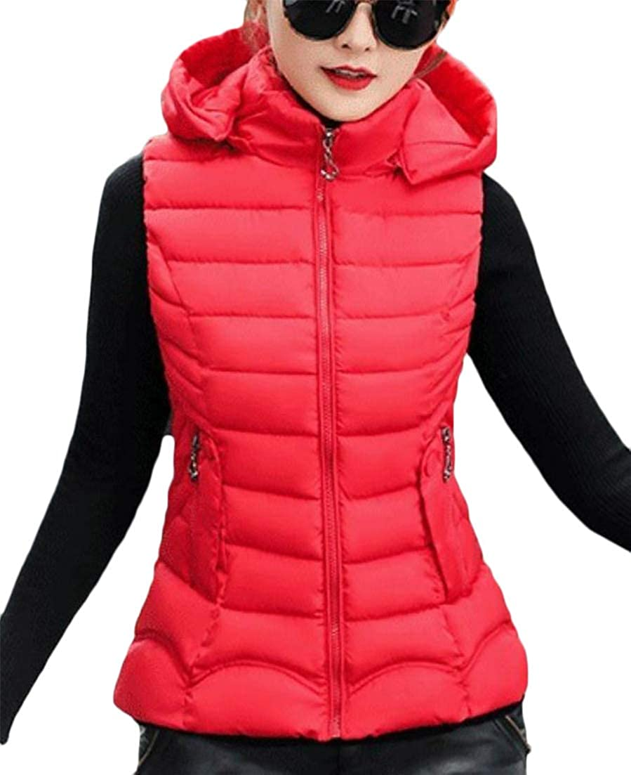 Etecredpow Womens Hoodie Slim Jacket Warm Outer Quilting Puffer Quilted Winter Vest