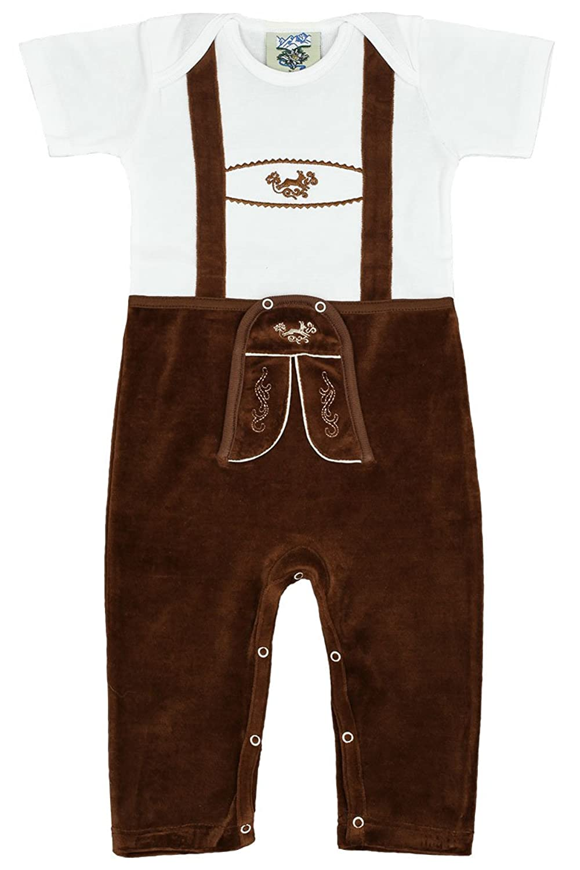 Baby - Jungen Isar-Trachten Babystrampler Lederhose braun lang, weiß-braun,