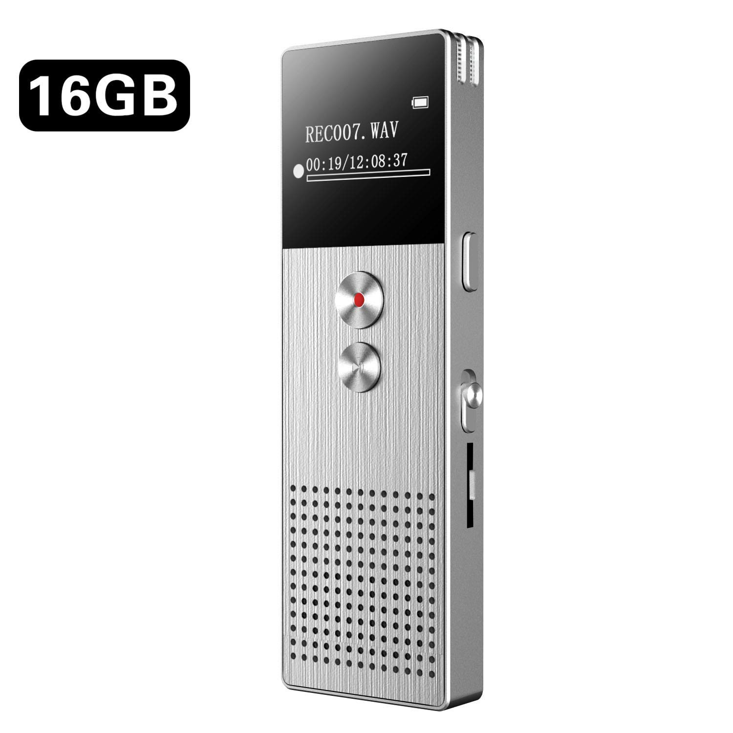 Digital Voice Recorder 16GB, BENGJIE Voice Activated Recorder with Playback, Sound Audio Recorder Dictaphone for Lectures/Meetings/Interviews, Mini Voice Recorder MP3 Player Support up to 32G TF Card