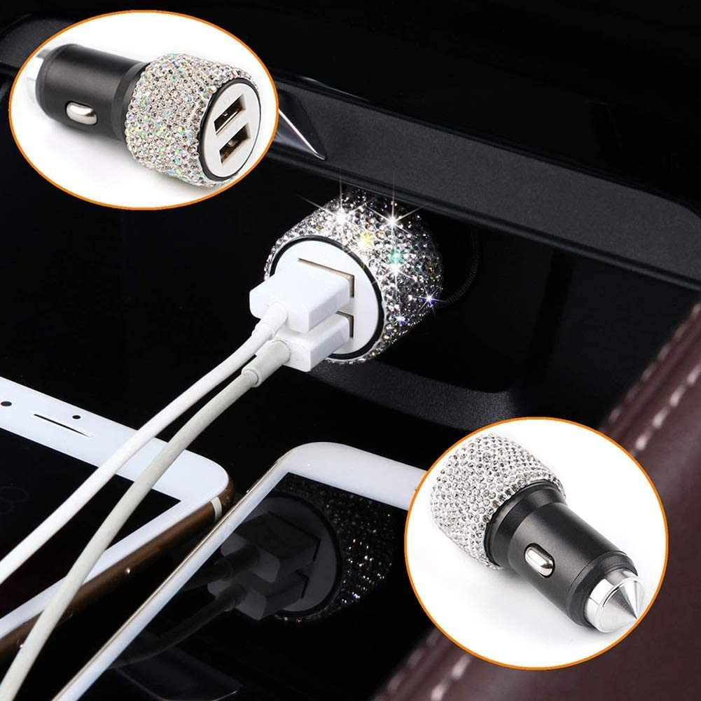 Bling Car USB Charger Semoic Bling Car Accessories for Women,Universal Crystal Rhinestones Steering Wheel Cover Set Bling Car Protector Decor for Girls