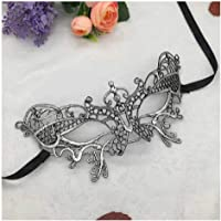 Digital Shoppy Reversible Silver Black Lace Venetian Mask Party Masquerade Queen Eye Mask Women Cosplay Costume Christmas Party Halloween Masks (Silver 22)