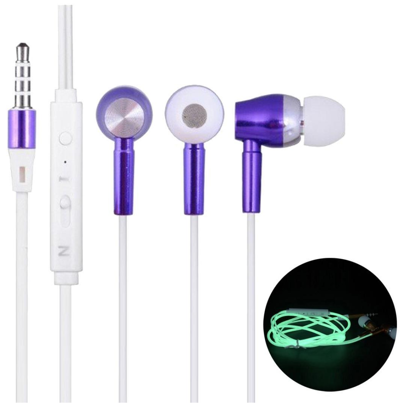 auriculares in ear headphone 3.5mm de deportivos luminoso auriculares metal con cable, graves profundos para móvil y MP3 reproducir música, iPhone, Samsung, Huawei, Xiaomi, MP3, PC by Sannysis (Azul) [Clase de eficiencia energética A+++]