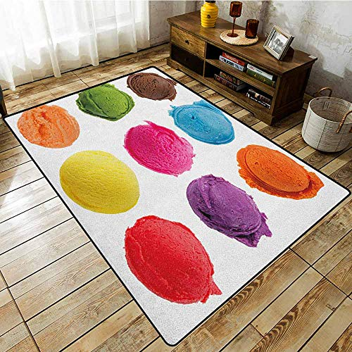 Rectangular Rug,Ice Cream,Ice Cream Toppings with Colorful Various Flavor Yummy Sweet Summer Season Image,for Outdoor and Indoor Multicolor