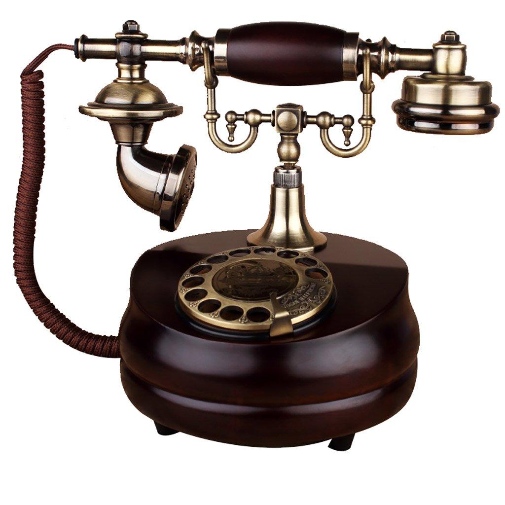 レトロ電話、ヨーロッパのアンティーク回転配線電話、家の固定電話、古い固定電話、木製ベース、サイズ:17 * 21センチメートル   B07GXGC4LH