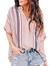 LINYIOU77 Womens Blouse Summer Womens Loose Tops Plus Size Button Long Shirt Dress Cotton Ladies Casual T-Shirt