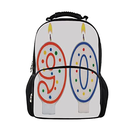 IPrint Kids School Bag 90th Birthday DecorationsParty Preparations Candles Number Ninety In Red Blue