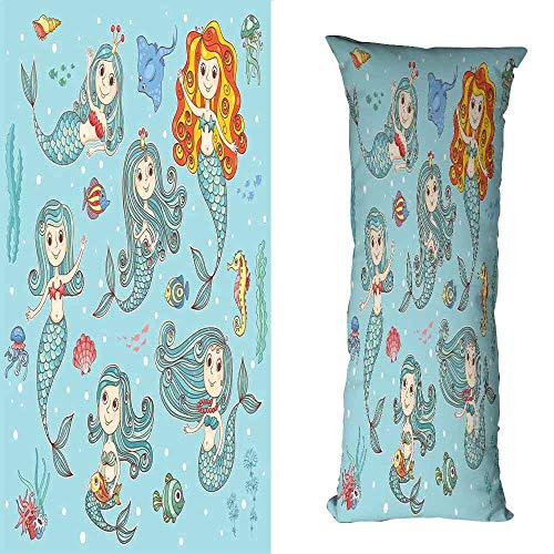 duommhome Mermaid Breathable Pillowcase Cute Collection of Mermaids with Different Types of Sea Creatures Marine Decor Print Anti-Fading W23.6X L71 inch Teal Orange ()