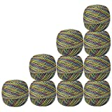 Pack of 10 Pcs Multicolor with Metallic Green Cotton Crochet Thread Tatting Doilies Skeins Lacey Craft Yarn