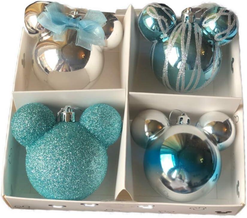Primark 6TBP Nuevo Licensed Disney Mickey Mouse Decoración Navidad Paquete de 4 Bolas Azul/Multicolor Decoración para Colgar: Amazon.es: Hogar