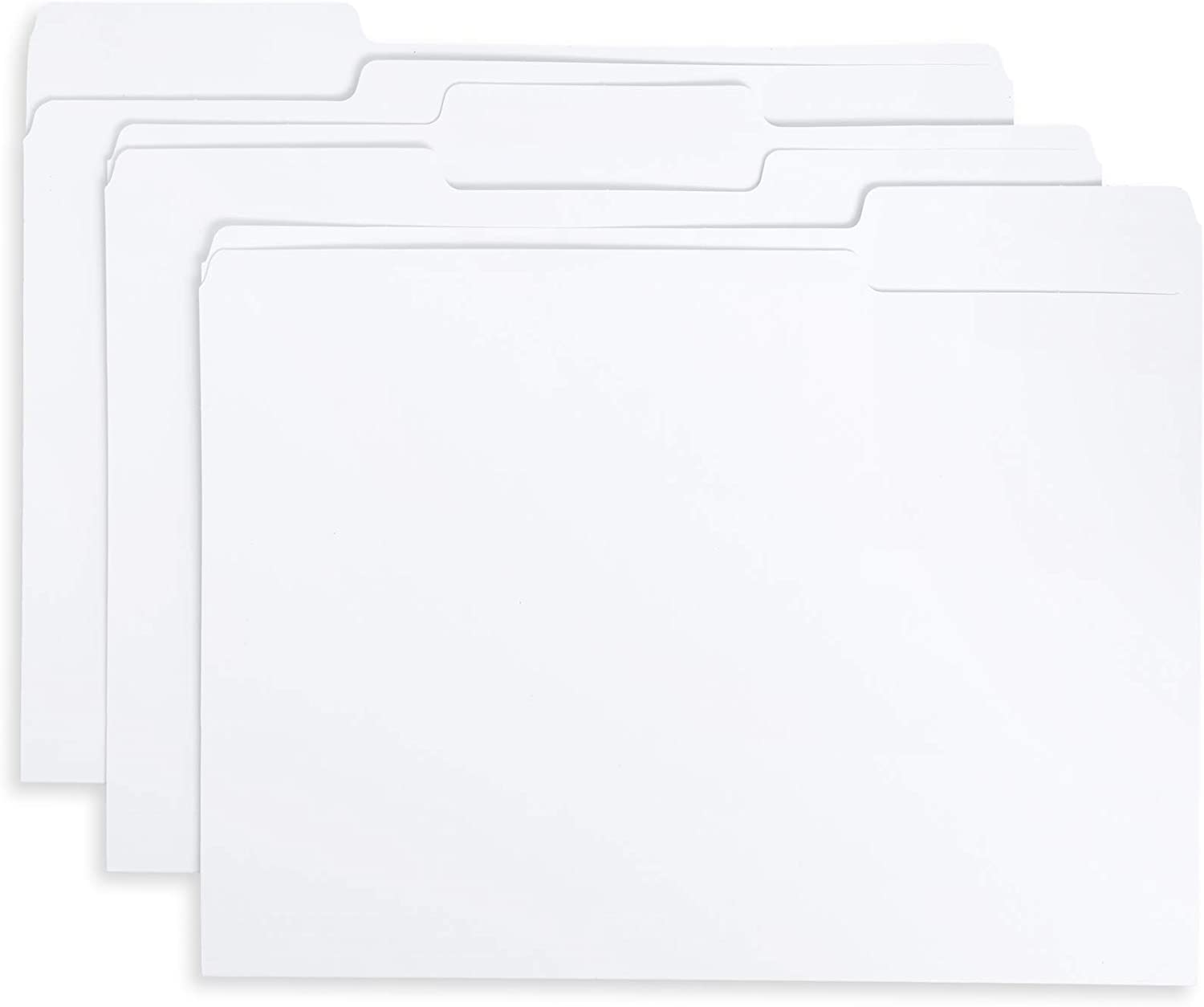 Blue Summit Supplies 100 White File Folders, 1/3 Cut Tab with Assorted Positions, Letter Size, Great for Organizing and Easy File Storage, 100 Pack
