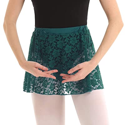 ACSUSS Womens Lace Floral High Waist Elastic Waistband Ballet Dance Lace Skirt Dark Green One Size at Women's Clothing store