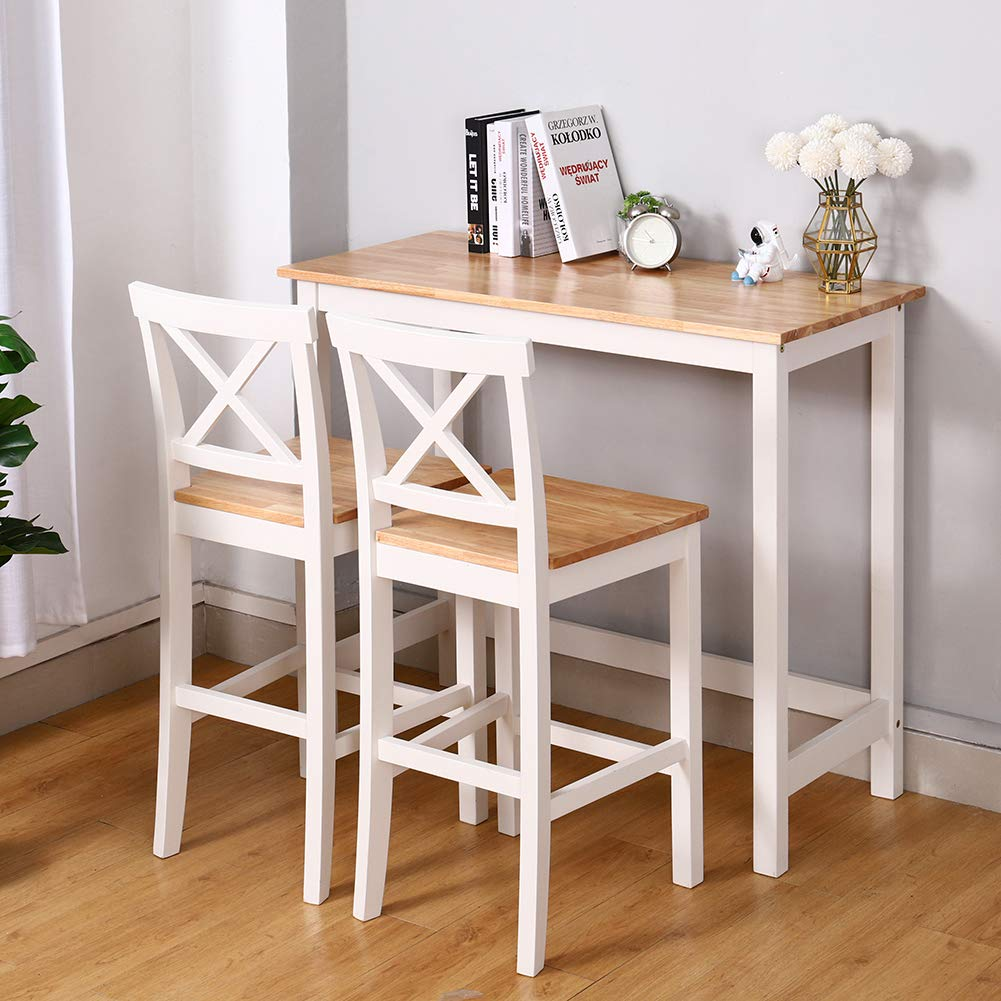 Warmiehomy Wooden Bar Table and Chairs Set Breakfast Bar Coffee Counter Table and 2 Stools Space Saving Compact, White