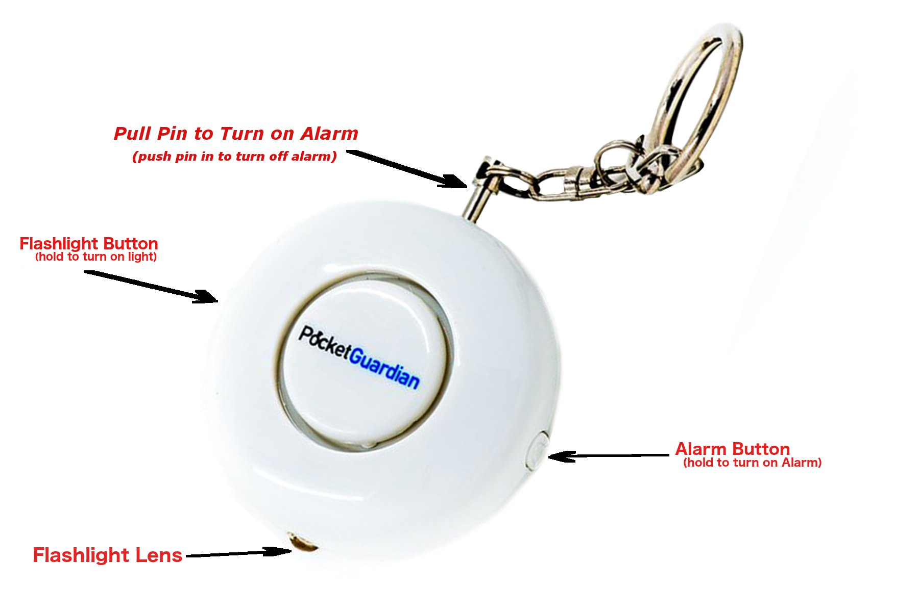 Pocket Guardian Personal Alarm Rape Whistle Attack Prevention Device with Flashlight (White) by Z9 Brands (Image #5)