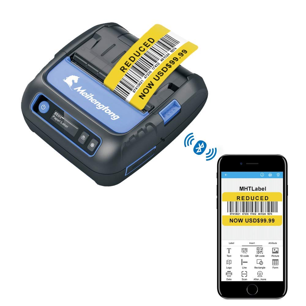 Thermal Printers, 80mm Bluetooth Printer Thermal Android iOS PC Label Printer with Rechargeable Battery for Small Business,Supermarket, Retail and More (80MM Thermal Printer) by Milestone (Image #2)