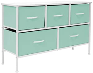 Sorbus Dresser with 5 Drawers - Furniture Storage Chest for Kid's, Teens, Bedroom, Nursery, Playroom, Clothes, Toys - Steel Frame, Wood Top, Fabric Bins (Pastel Teal)