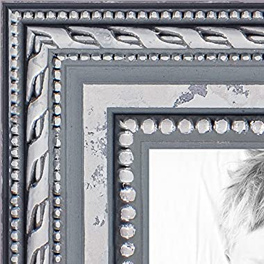 ArtToFrames 11x14 inch Ornate SIlver Wood Picture Frame, WOM80801-SLV-11x14