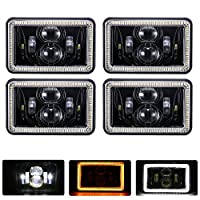 TRUCKMALL 4x6 inch LED Headlights Rectangular Replacement H4651 H4652 H4656 H4666 H6545 for Peterbil Kenworth Freightinger Ford Probe Chevrolet Oldsmobile Cutlass Black 4PCS