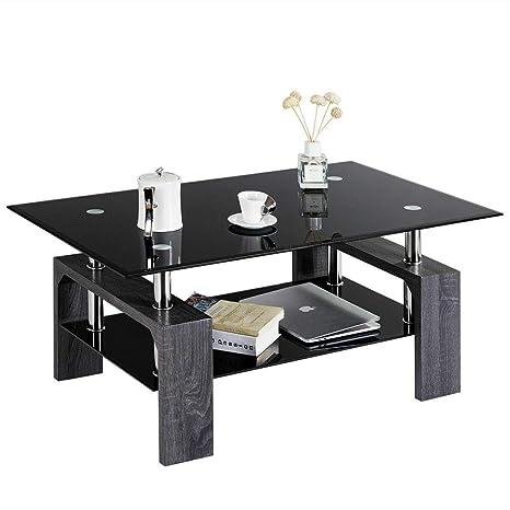 Amazon.com: Mesa de centro rectangular de cristal templado ...