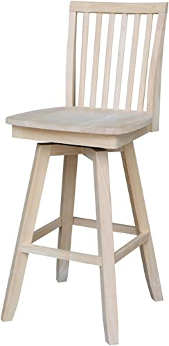 International Concepts Mission Barheight Stool with Swivel and Auto Return, 30 , Ready to Finish