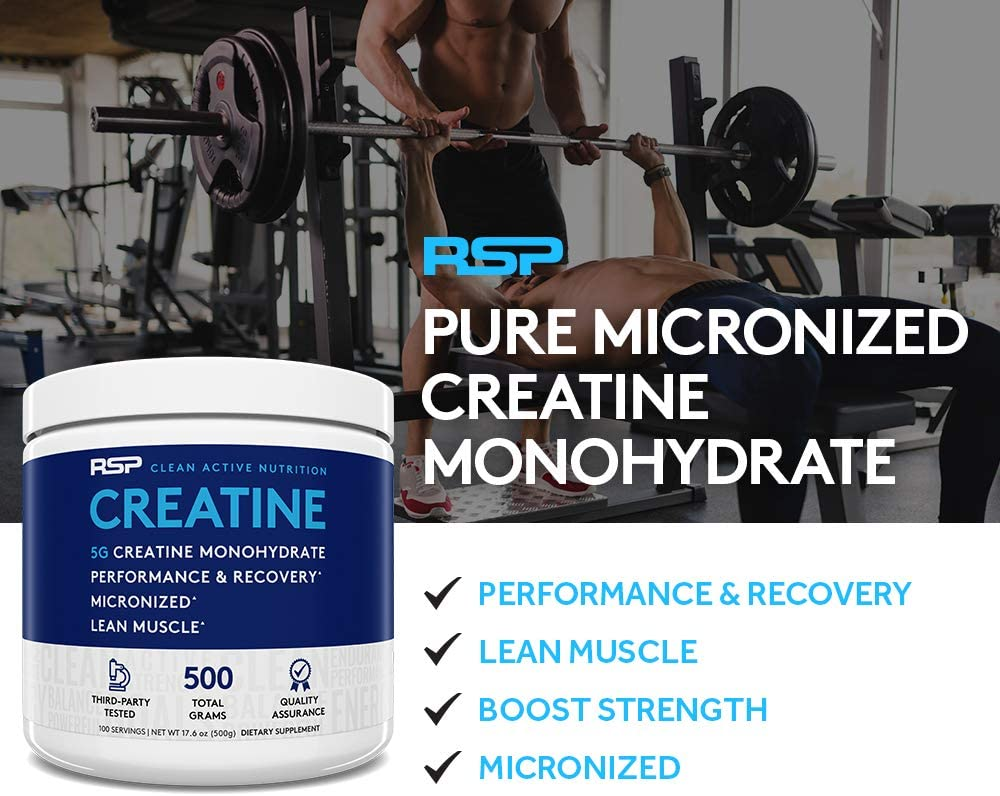 Amazon.com: RSP Creatine Monohydrate – Pure Micronized Creatine Powder Supplement for Increased Strength, Muscle Recovery, and Performance for Men & Women, Unflavored, 10.6 Ounce: Health & Personal Care