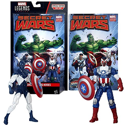 Hasbro Year 2015 Marvel Legends Comic Book Series 2 Pack 4 Inch Tall Figure - SHIELD WIELDING HEROES with VANCE ASTRO, CAPTAIN AMERICA, 2 Shields and Comic