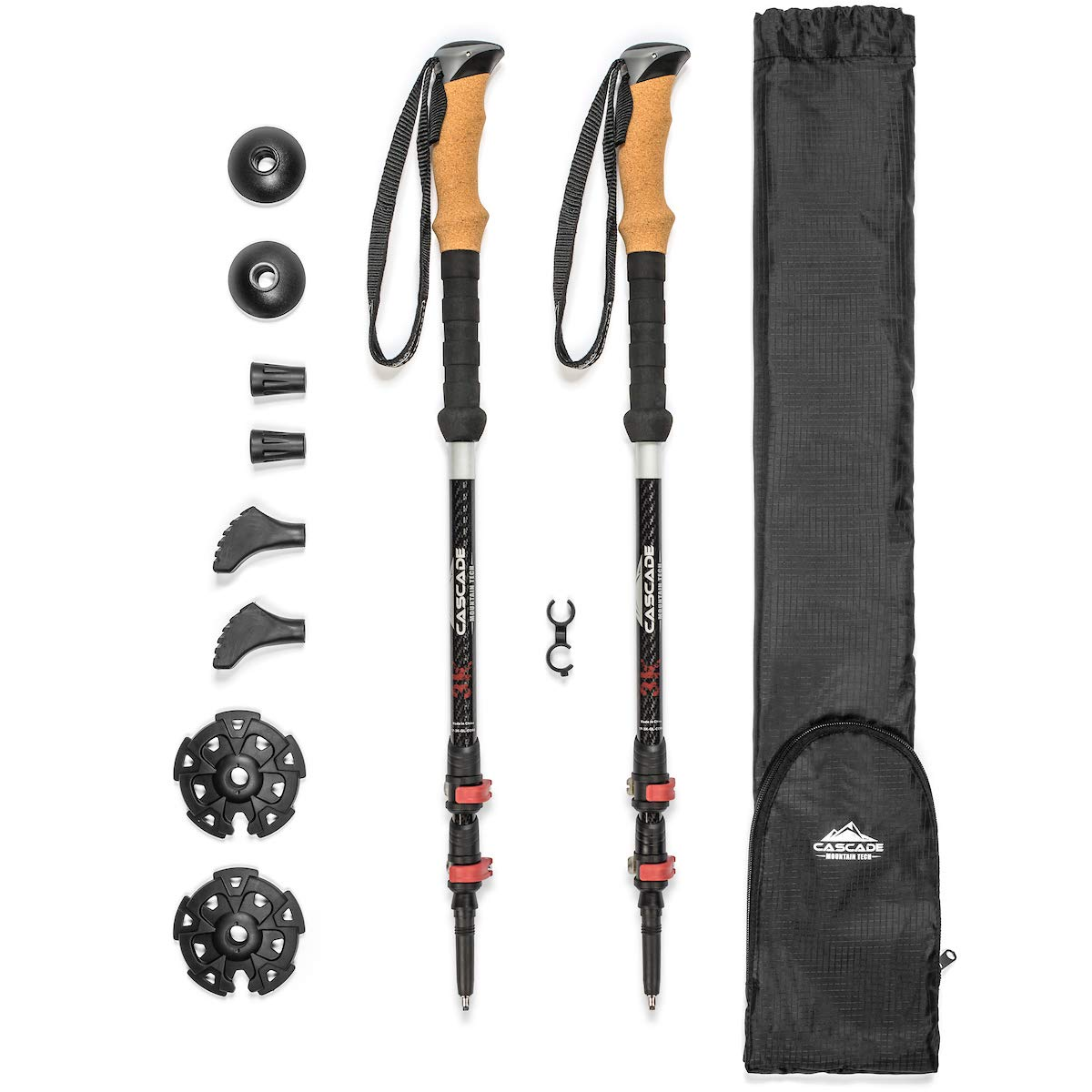 Cascade Mountain Tech 3K Carbon Fiber Trekking Poles Ultralight with Cork Grip and Quick Lock for Hiking and Walking