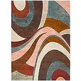 Cheap Home Dynamix Tribeca Slade Area Rug | Contemporary Living Room Rug | Modern Swirl Design | Bold-Vibrant Colors | Multi-Brown 5'2″ x 7'2″
