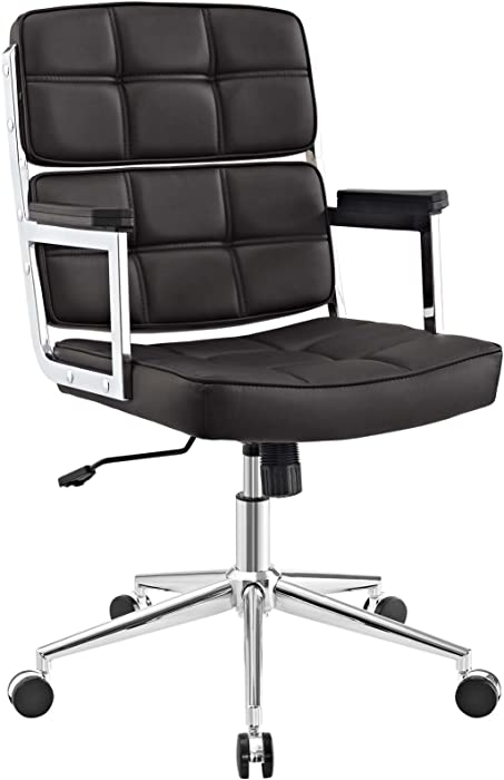 Modway Portray High Back Faux Leather Tall Modern Office Chair In Brown