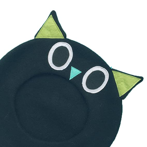 286c6cb3f1b86 hearty lady Kawaii Handmade Cartoon Beret hat Vintage Lolita Mori Girl Wool  Cap (cat) at Amazon Women s Clothing store
