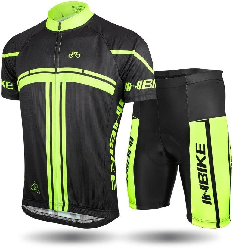 INBIKE Men's Cycling Jersey Set Short Sleeve Full Zip Moisture Wicking Breathable Quick-Dry, Bike Shirt with 3D Padded Shorts : Clothing