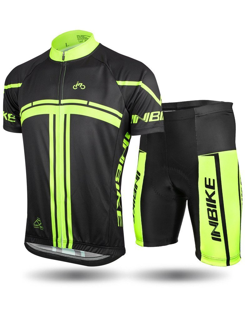 INBIKE Mens Cycling Jersey Set Short Sleeve Full Zip Moisture Wicking Breathable Quick-Dry,Bike Shirt 3D Padded Shorts