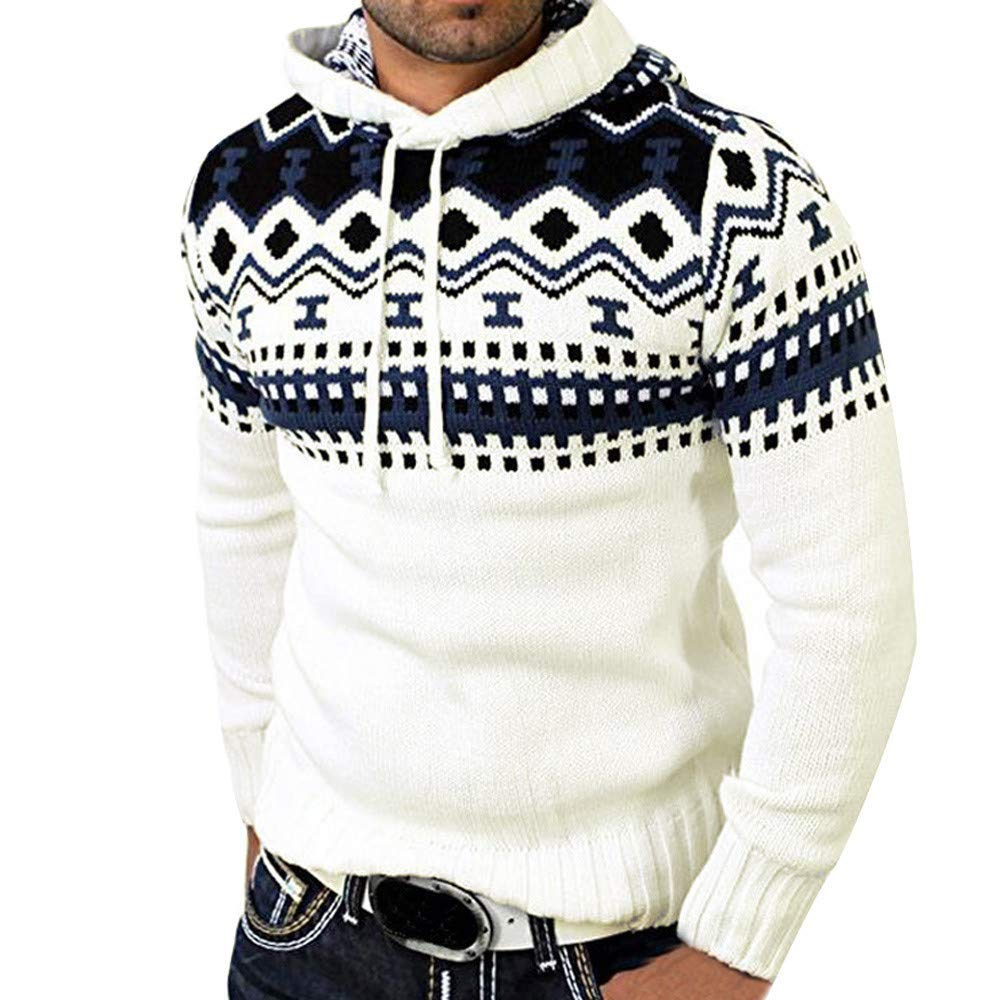 GOVOW Knitted Cardigan for Men Autumn Winter Pullover Coat Hooded Sweater Jacket Outwear(XXXL,White)