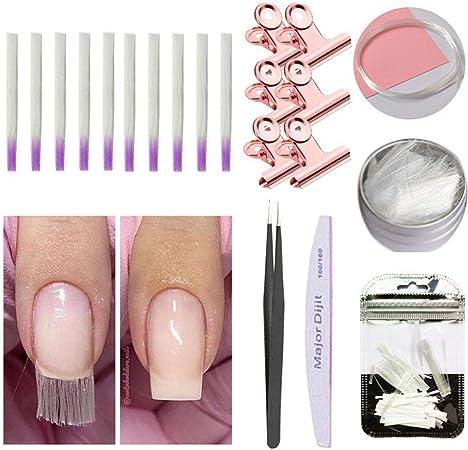 Kit de extensión de uñas de fibra de vidrio, 21 Pack uñas de fibra ...