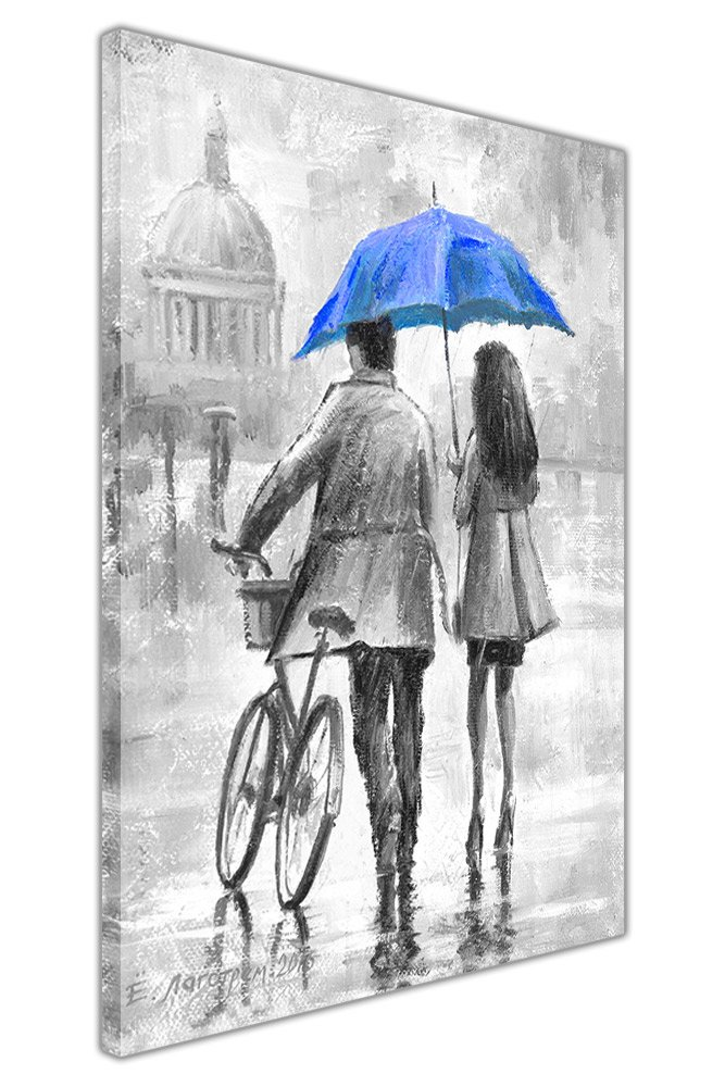 Couple Holding Blue Umbrella Black and White Framed Canvas Wall Pictures Home Decoration Art Prints SIZE: A4-12