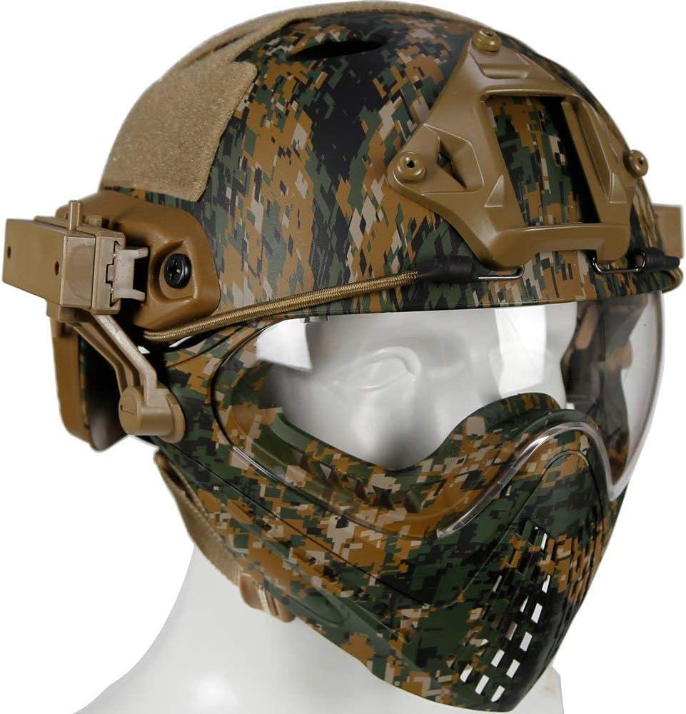 Type de Combat Pour le Visage de Paintball Airsoft de Tir CQB,Noir,M Casque de Protection Int/égral Militaire SWAT Combat Militaire Avec Masque Et Lunettes Amovibles Casque Tactique PJ Airsoft