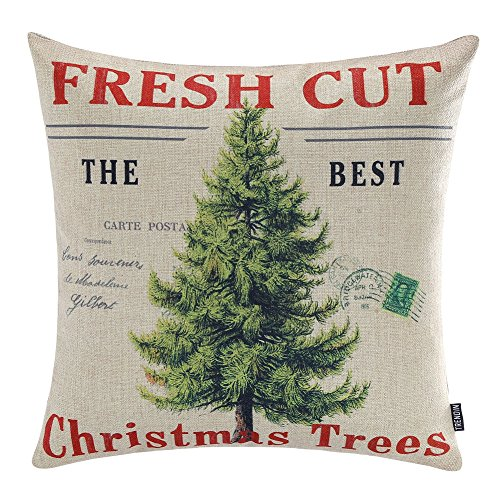 TRENDIN Merry Christmas Throw Pillow Cover Gifts Christmas Tree Xmas Home Decor Design Cotton Linen 18 x 18 Cushion Cover for Sofa PL071TR ()