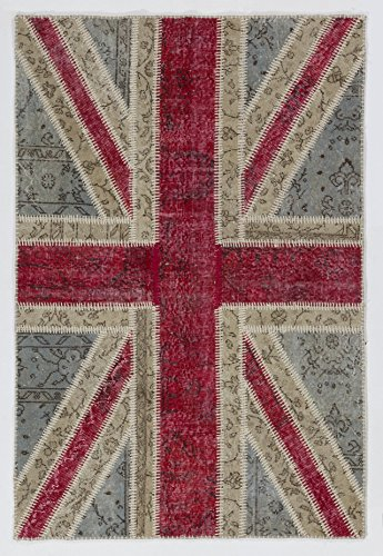 Pale Faded Blue & Red Color British Flag Union Jack Design Patchwork Rug Handmade From Overdyed Vintage Turkish Carpets (8 Foot British Flag compare prices)