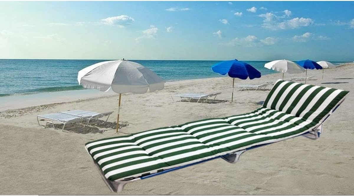 Cisne 2013, S.L. Cojín Colchón para Tumbona o Mueble para Jardín, Playa, Exteriores. Cojín Suave Asiento terraza etc. Medidas 180x50x5cm. Diseño Rayas Verdes.
