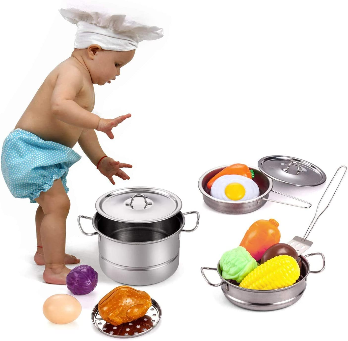 Boys Cutting Vegetables for Kids Baking Glove /& Rag Girls Toddlers Tuko Kitchen Pretend Play Toys with Stainless Steel Cookware Pots and Pans Set Cooking Utensils